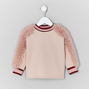 Mini girls pink faux fur sleeve sweater