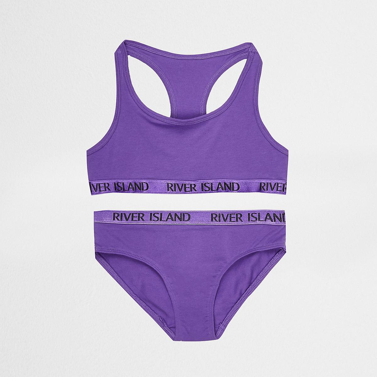 Girls purple racer crop and briefs set