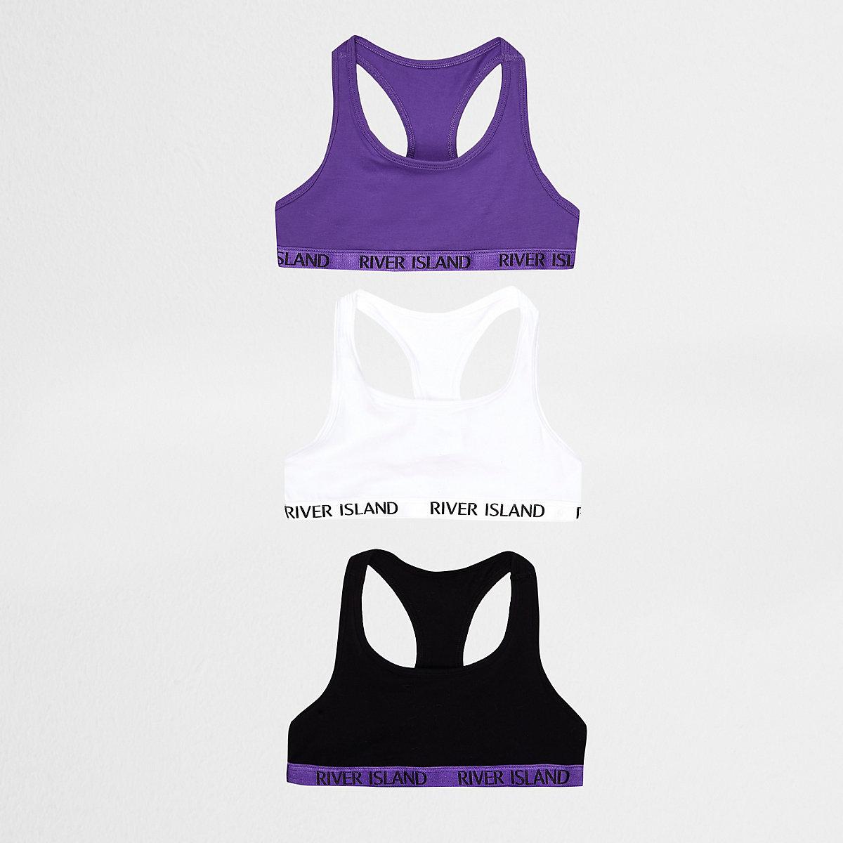 Girls purple branded racer back crop top pack
