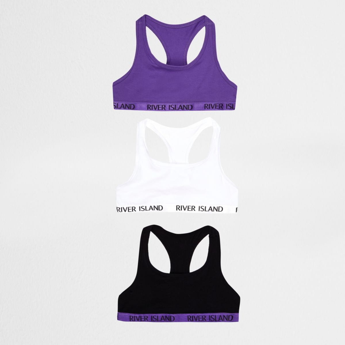 Girls purple branded racer back crop top pack