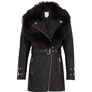 Girls black faux fur longline belted jacket