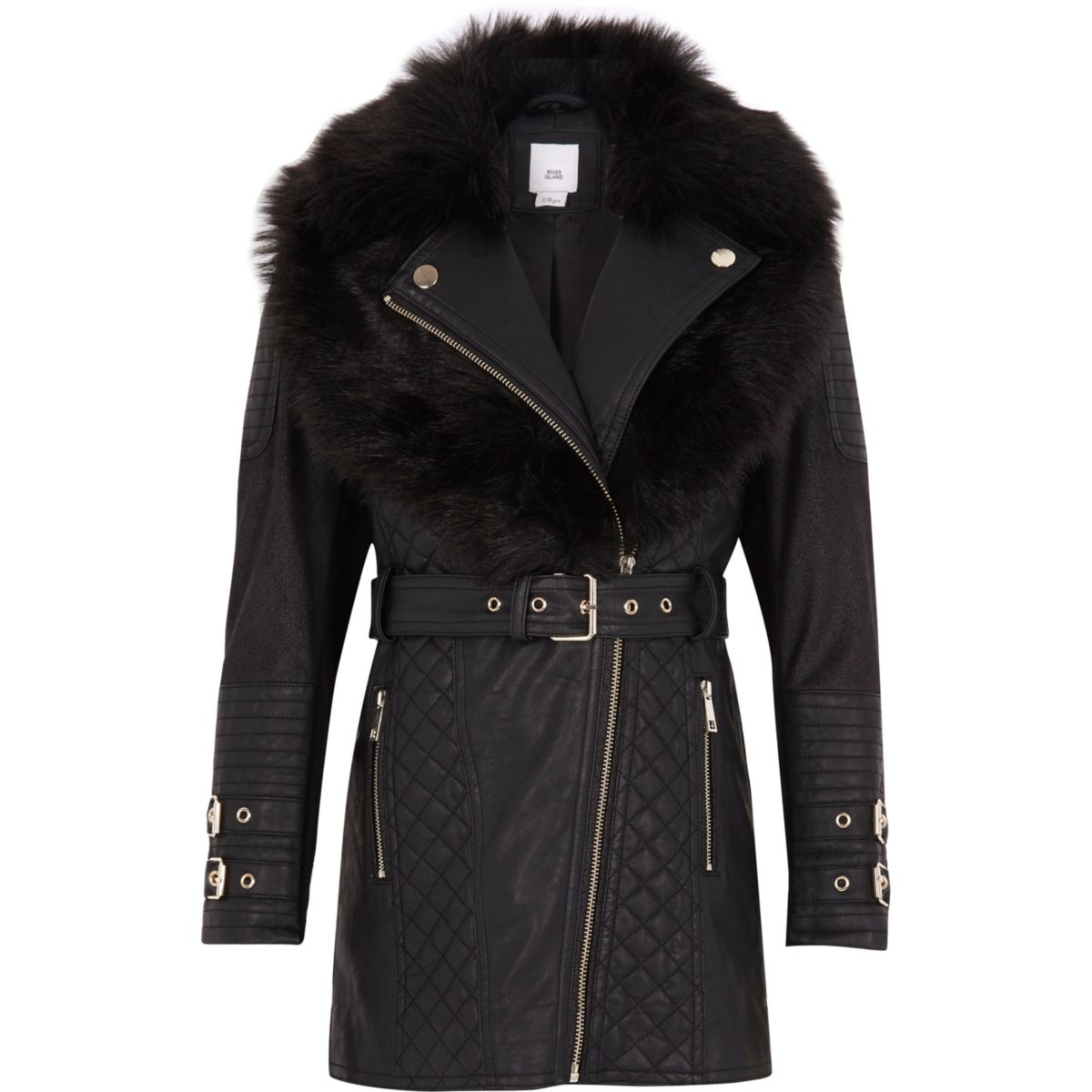 Girls black faux fur longline belted jacket