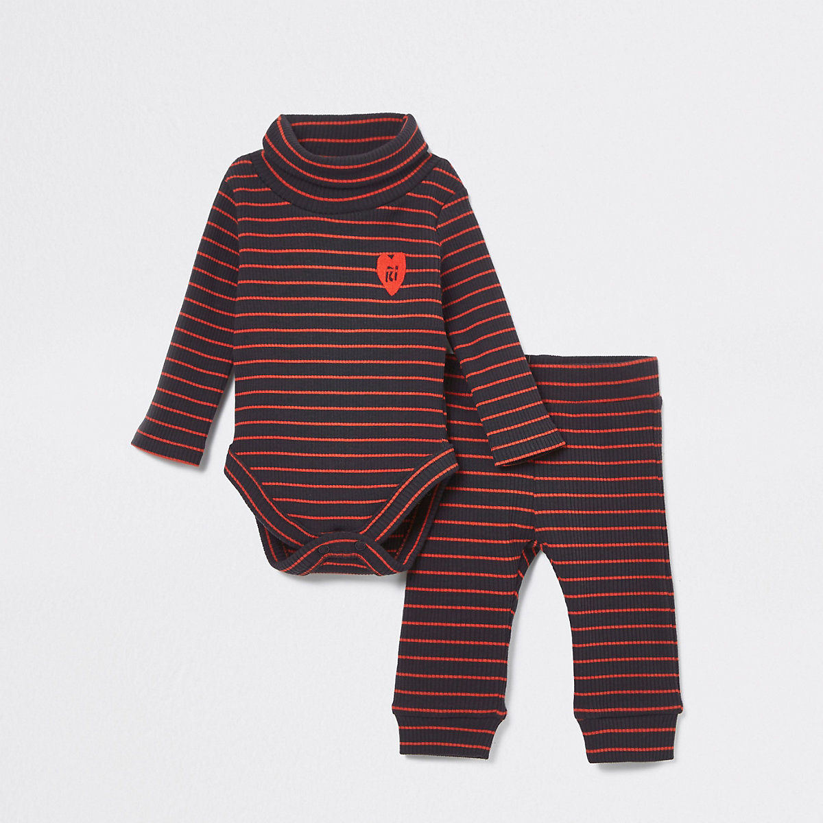 Baby navy stripe roll neck babygrow outfit