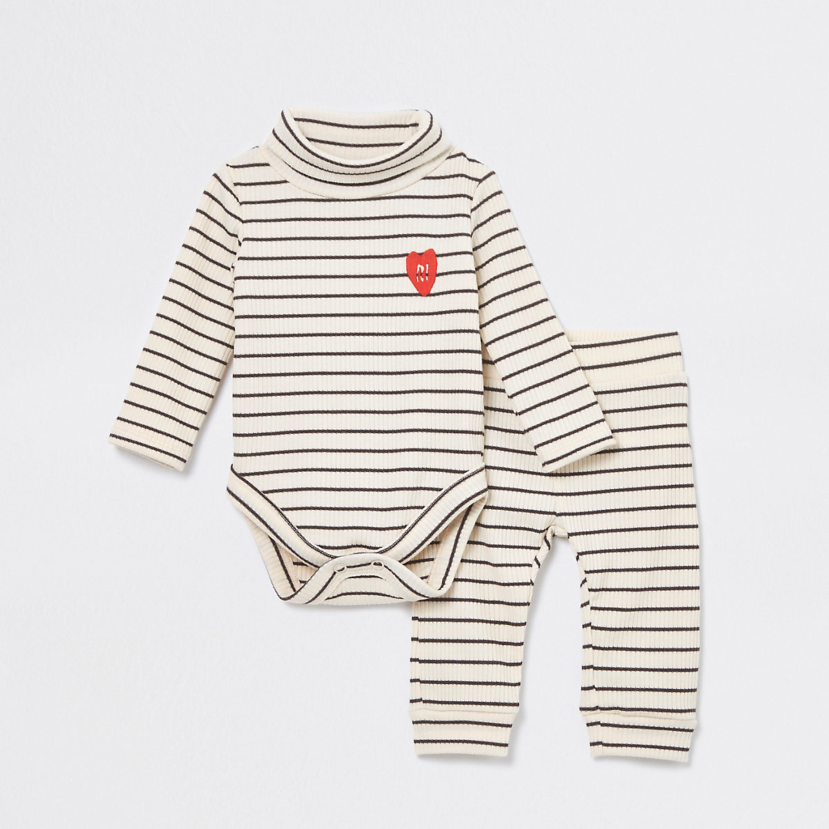 Baby cream ribbed babygrow outfit