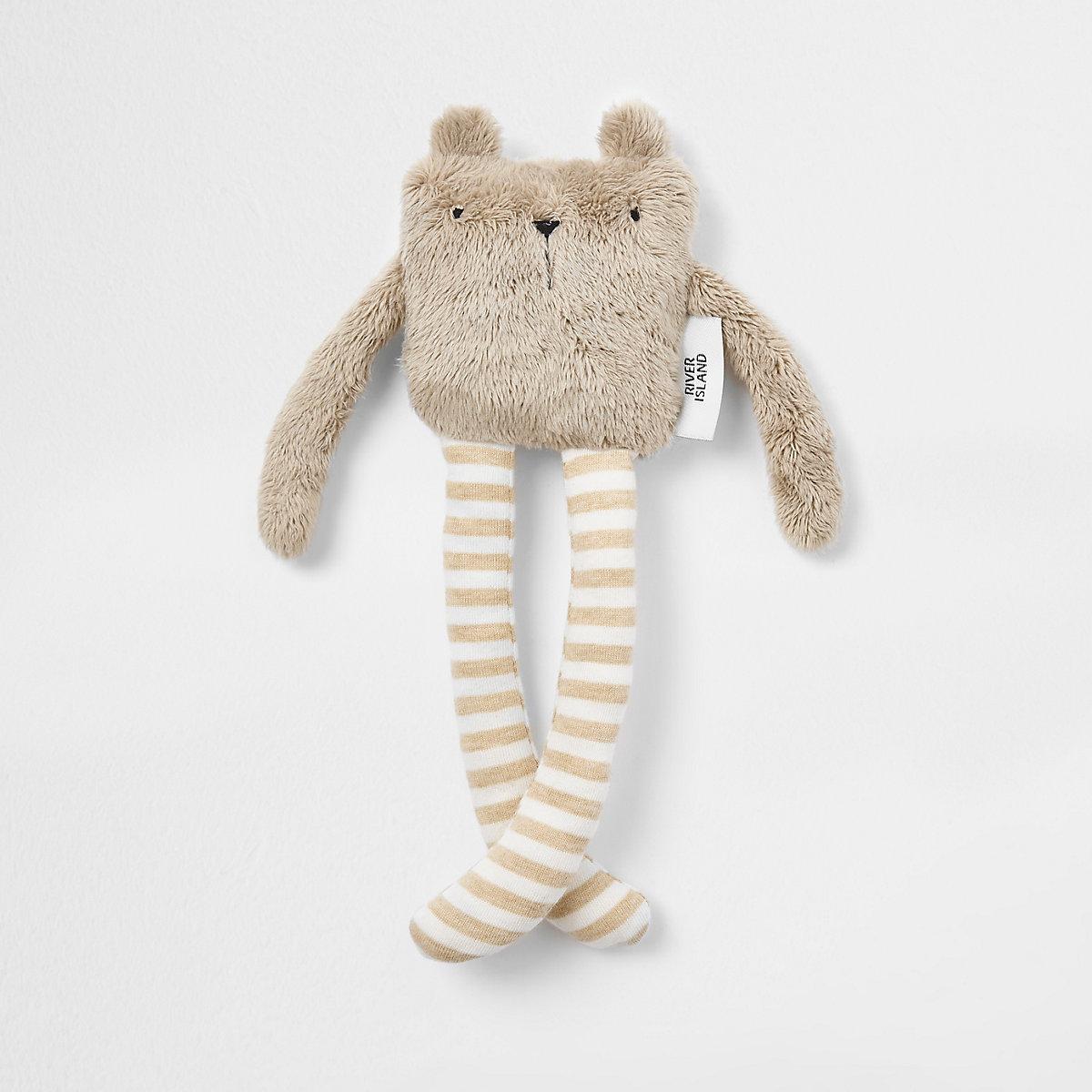 Baby beige faux fur bear toy