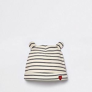 Bonnet côtelé rayé crème pour bébé