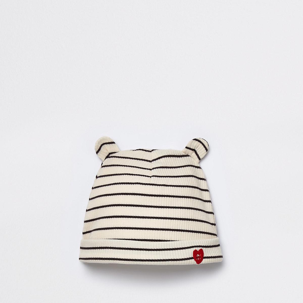 Baby cream ribbed stripe beanie hat