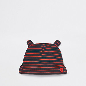 Baby navy ribbed stripe beanie hat