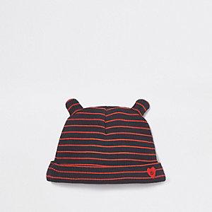 Bonnet côtelé rayé bleu marine pour bébé