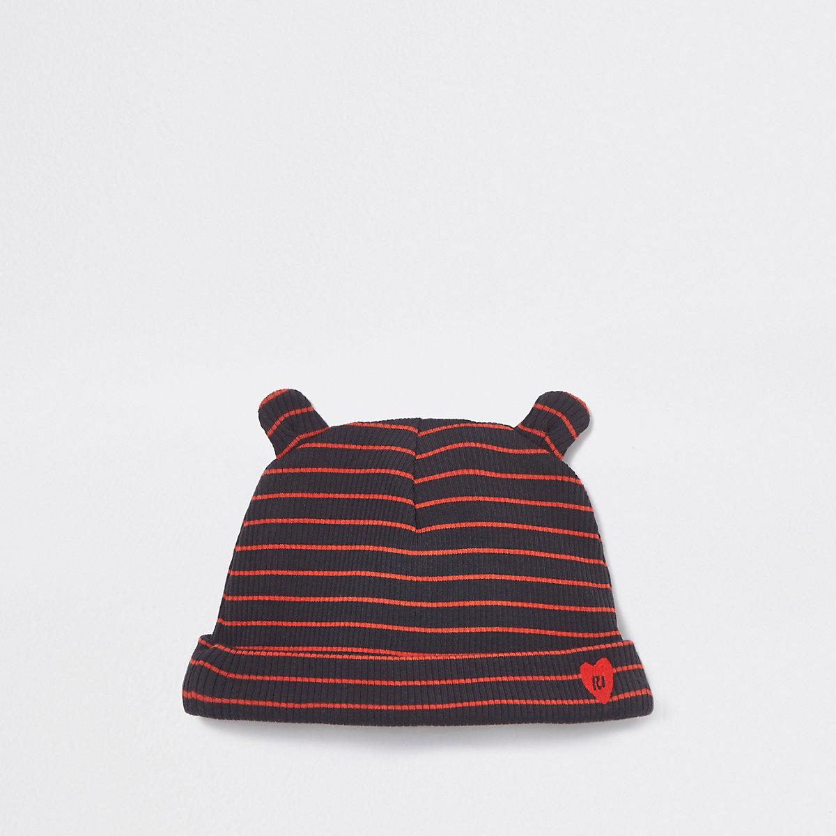 Baby navy ribbed stripe beanie hat
