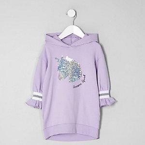 Robe sweat motif licorne à sequins violette mini fille