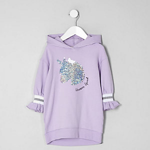 Mini - Paarse sweaterjurk met eenhoornprint en pailletten voor meisjes