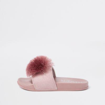 Girls Pink Pom Pom Sliders by River Island