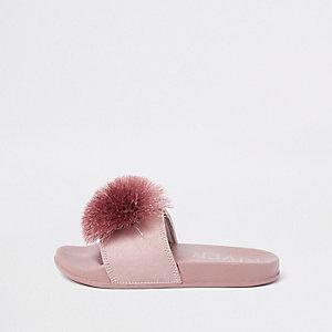 Roze meisjesslippers met pompon