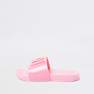 Claquettes en plastique roses à logo RI pour fille