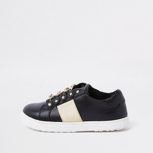 Girls black gold chain plimsolls