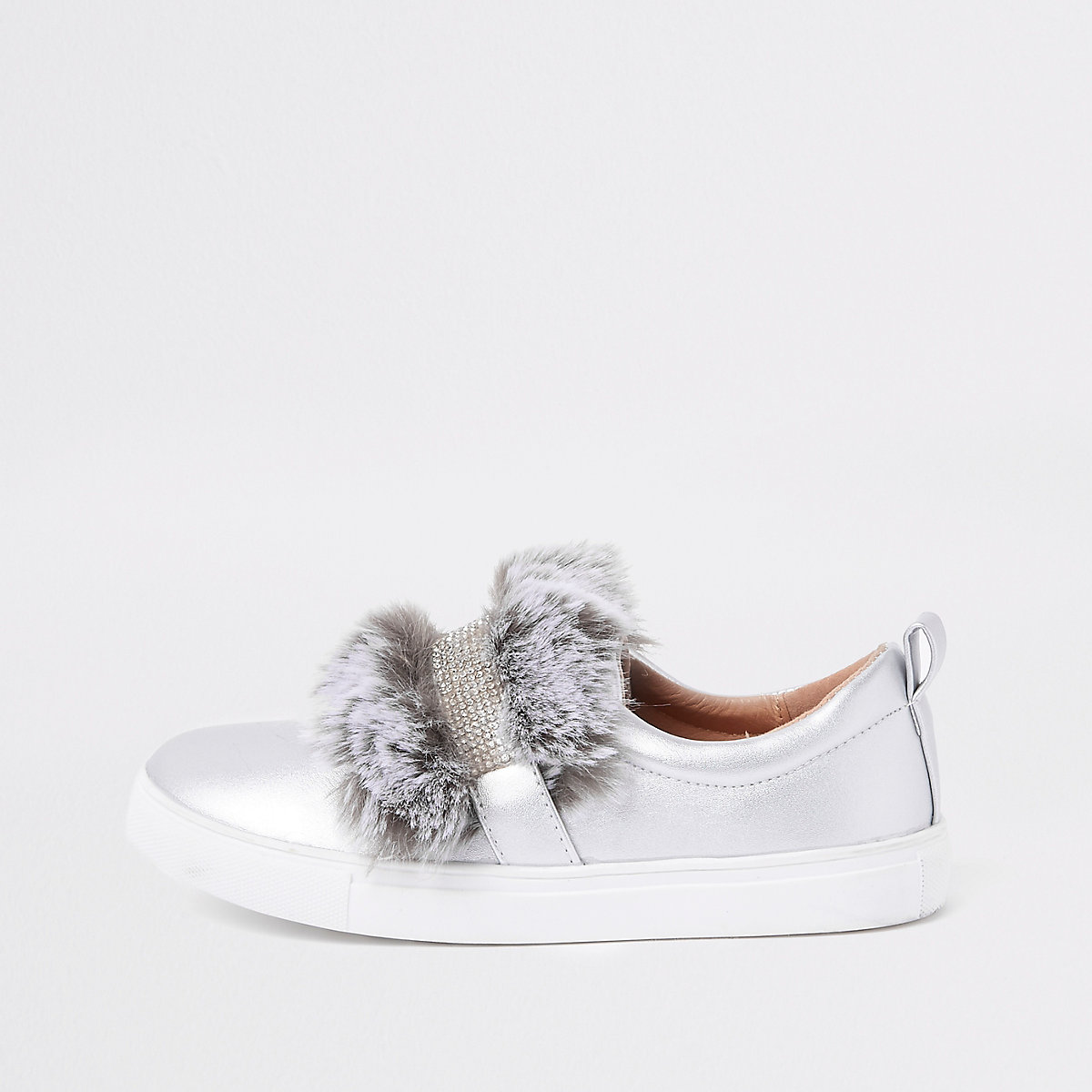 Girls silver faux fur diamante strap plimsoll
