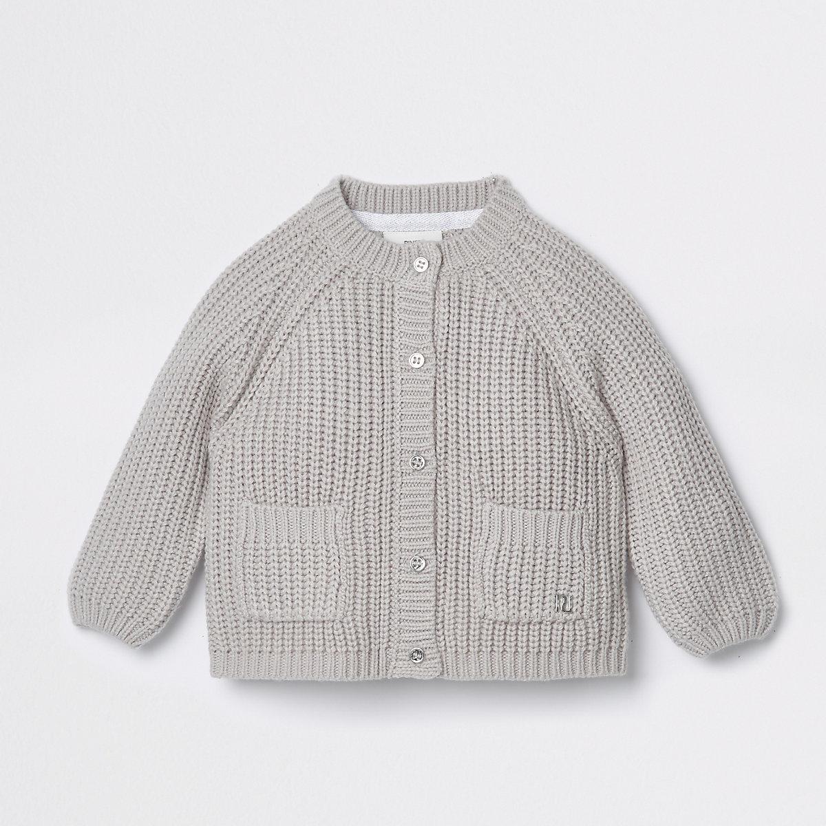 Baby grey chunky knit cardigan