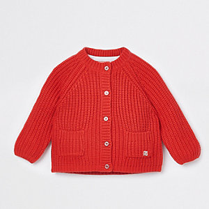 Baby red chunky knit cardigan