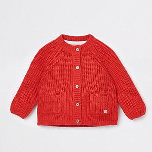 Cardigan en maille épaisse rouge pour bébé