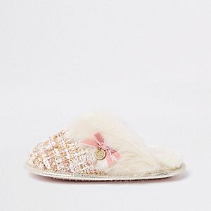 Girls cream boucle faux fur trim slippers