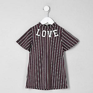 Mini - Paarse gestreepte A-lijnjurk met 'love'-print voor meisjes