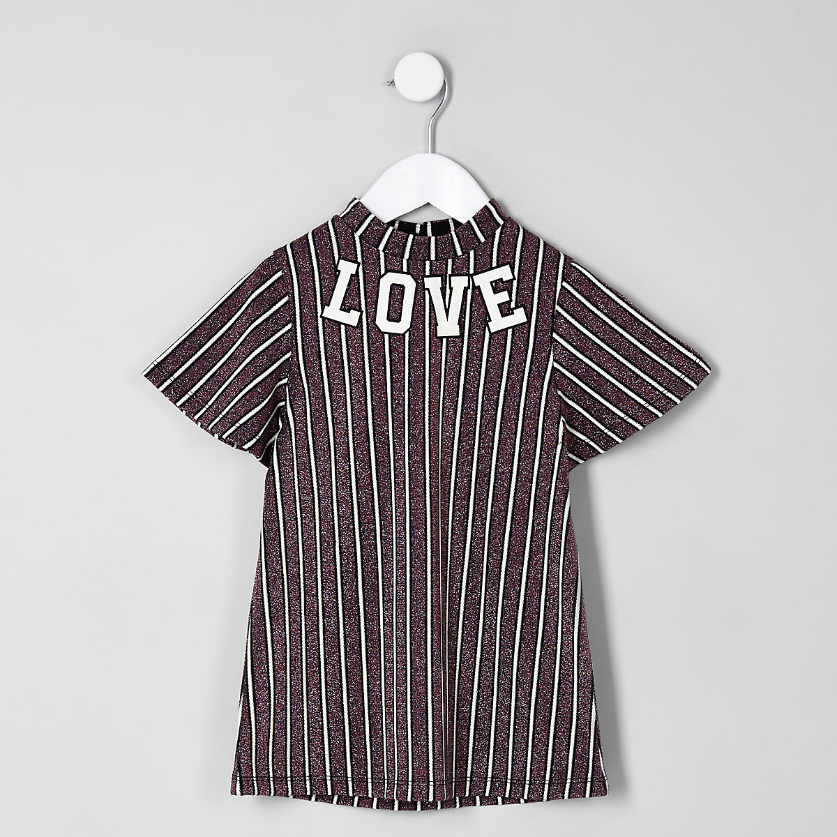 Mini girls purple stripe 'love' trapeze dress