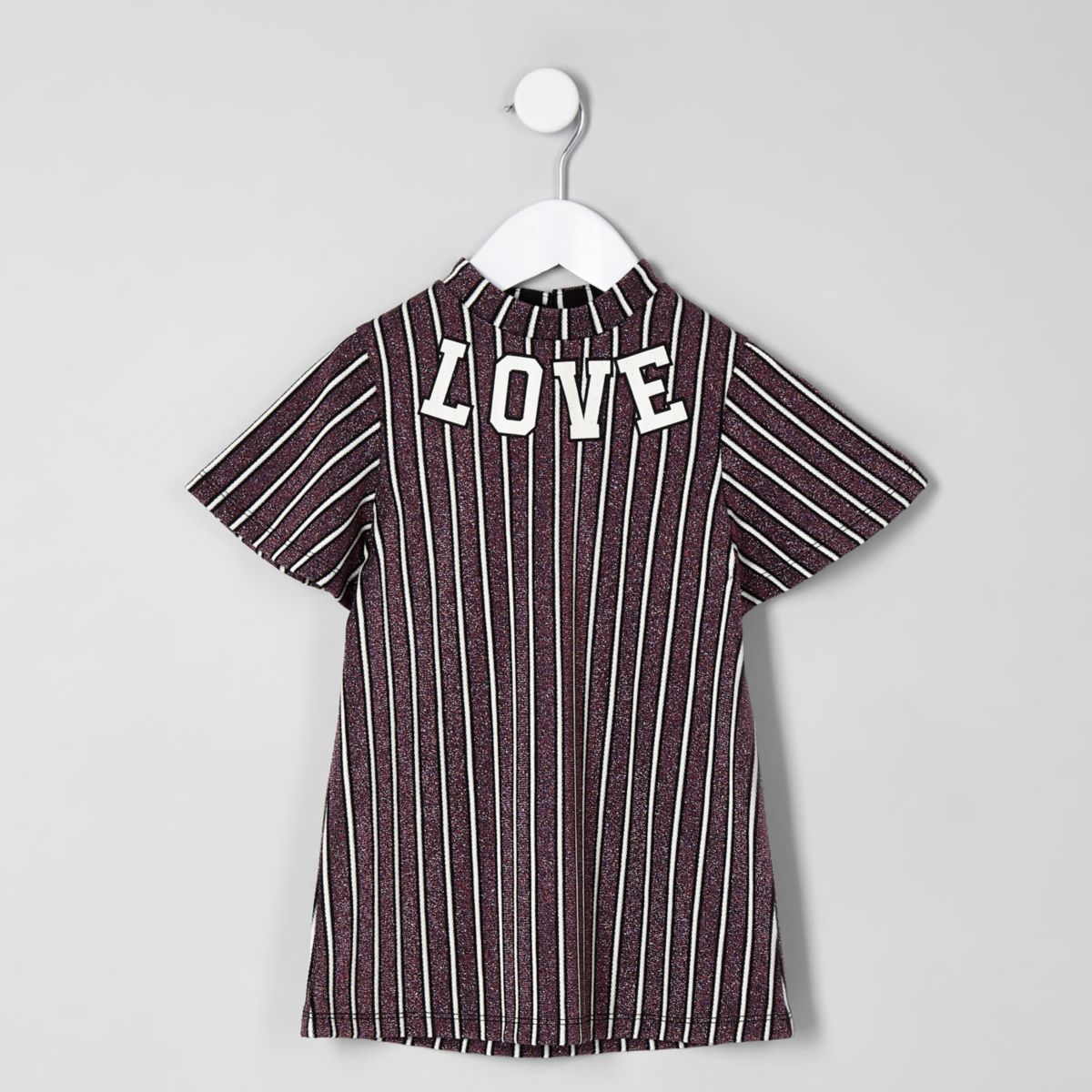 Mini girls purple stripe 'love' trapeze dress