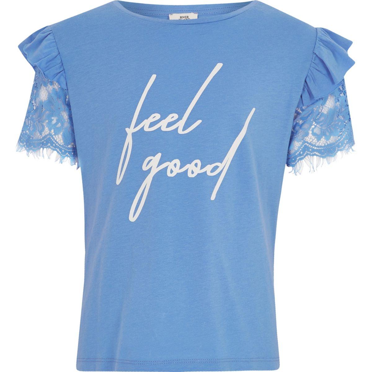 T-shirt «feel good» bleu à manches en dentelle pour fille