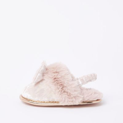 Mini Girls Pink Velvet Bow Slippers by River Island