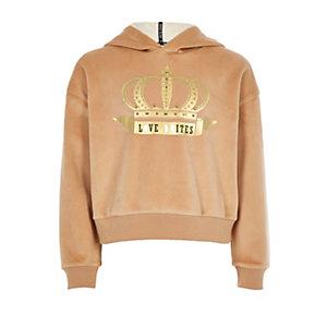 Beige hoodie met goudkleurige 'Love unites'-folieprint voor meisjes