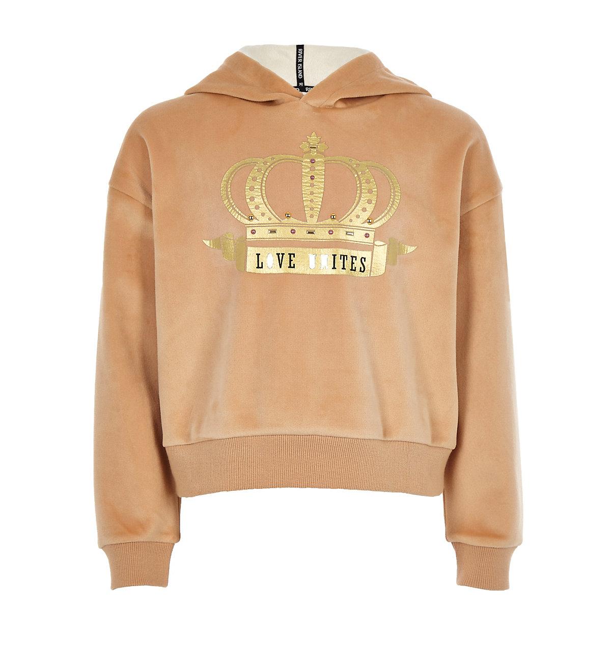 Girls beige 'love unites' gold foil hoodie