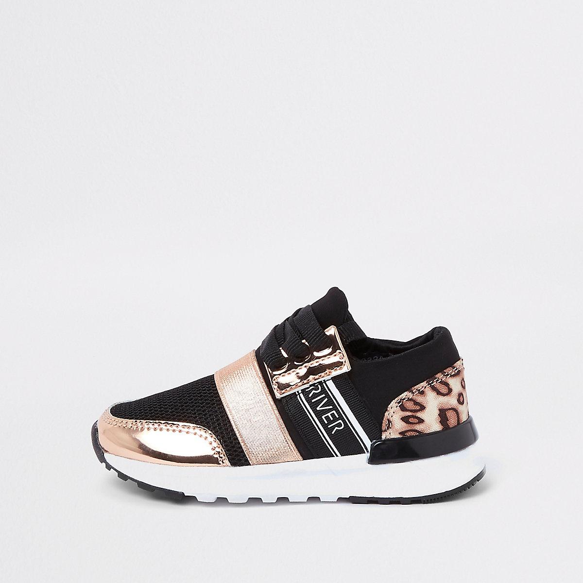 Mini girls gold leopard print runner trainers