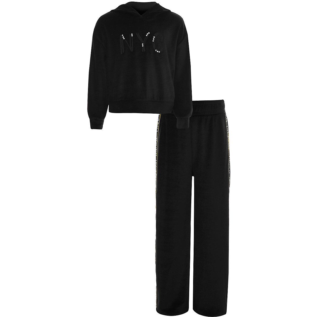 Girls black 'NYC' velvet RI jogger outfit