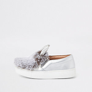 Mini girls silver tone faux fur plimsolls