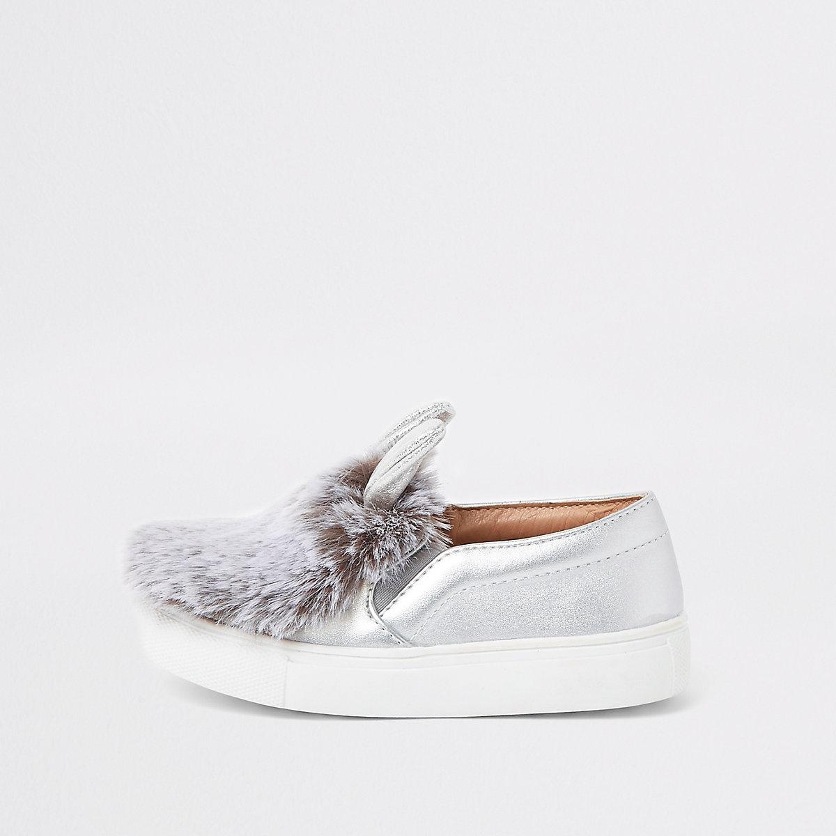Mini girls silver tone faux fur plimsolls