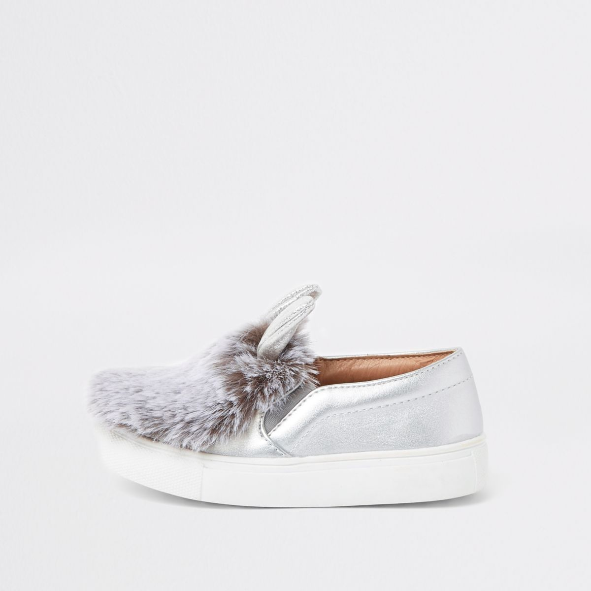 Mini girls silver tone bunny ears plimsolls