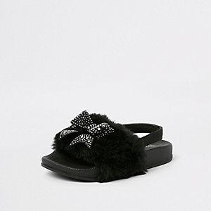 Mini - Zwarte slippers met imitatiebont voor meisjes