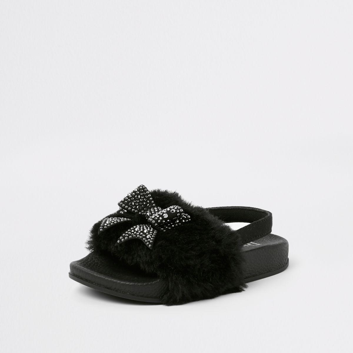 Mini girls black faux fur bow sliders