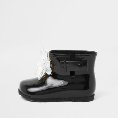 Mini Girls Black Patent 3 D Embellished Wellie by River Island