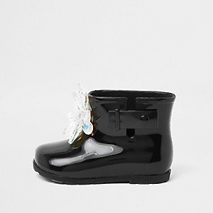 Mini girls black patent 3D embellished wellie