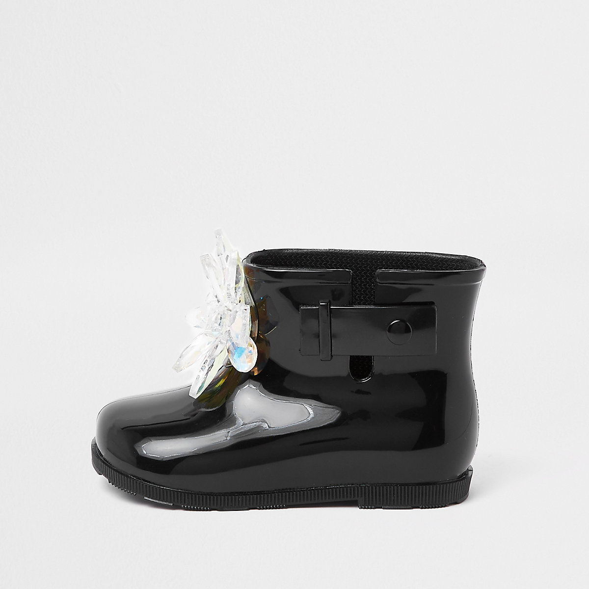 Mini girls black patent 3D embellished wellie
