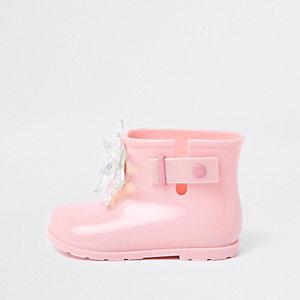 Mini - Roze lakleren 3D verfraaide regenlaarzen voor meisjes