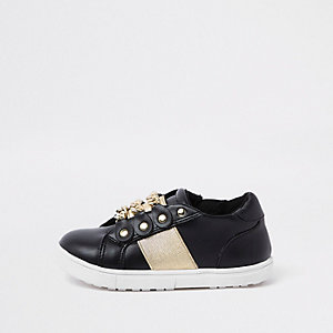 Mini girls black gold chain plimsolls