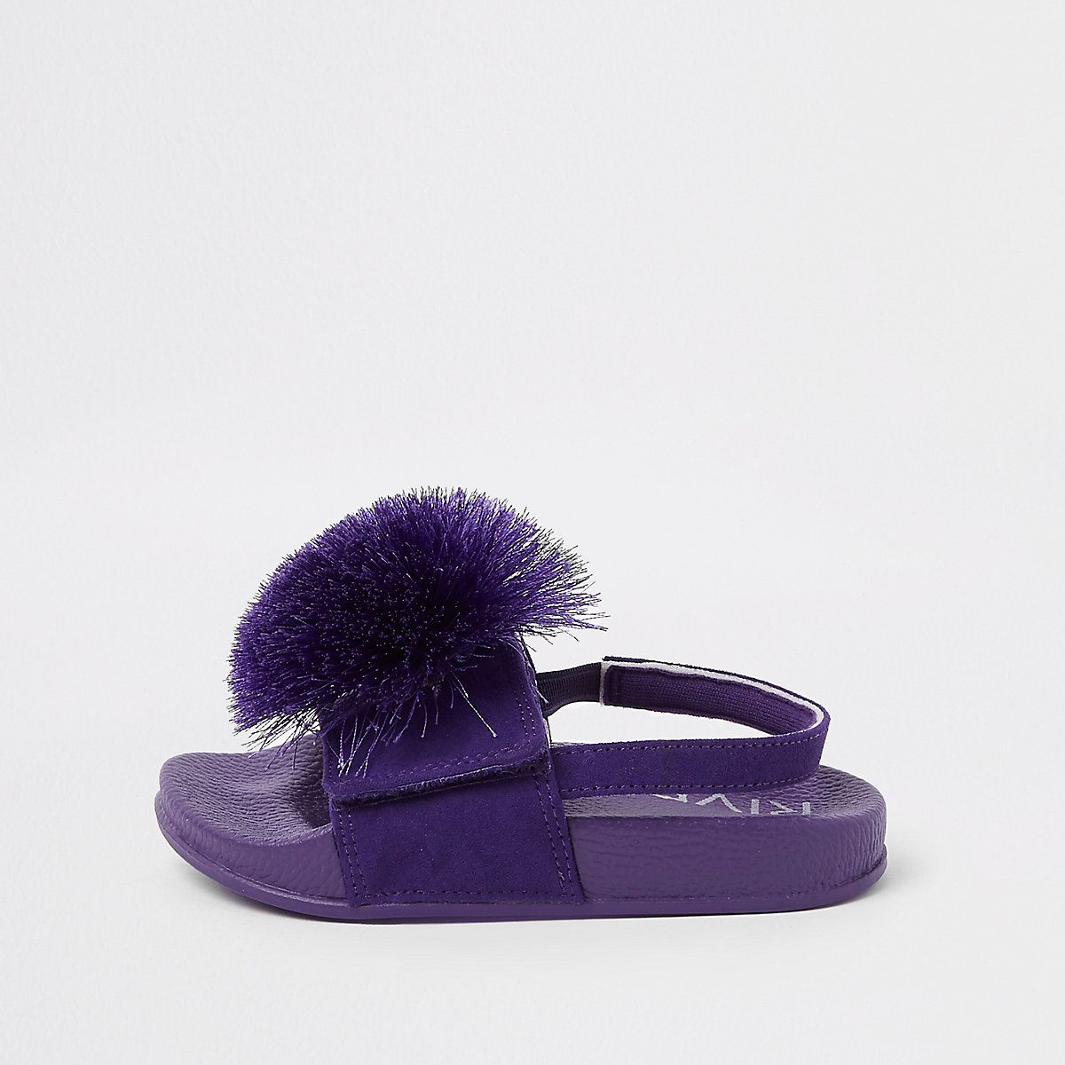 Mini girls purple pom pom sliders