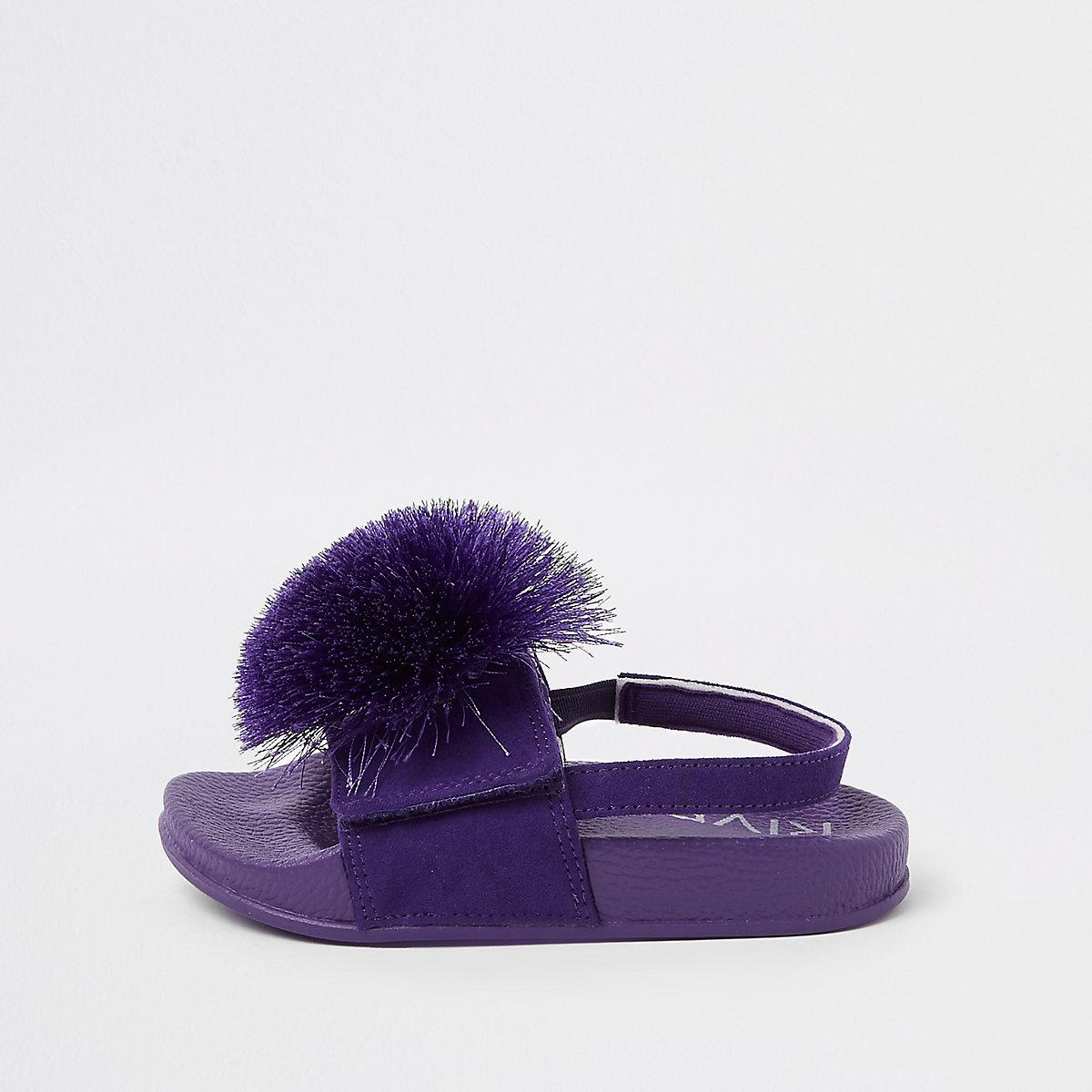 Mini girls purple pom pom sliders