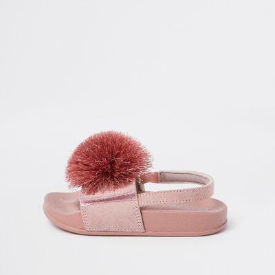 Mini Girls Pink Pom Pom Sliders by River Island
