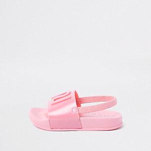 Claquettes en plastique roses à logo RI mini fille