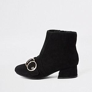 Zwarte RI-laarzen met dubbele gesp voor meisjes