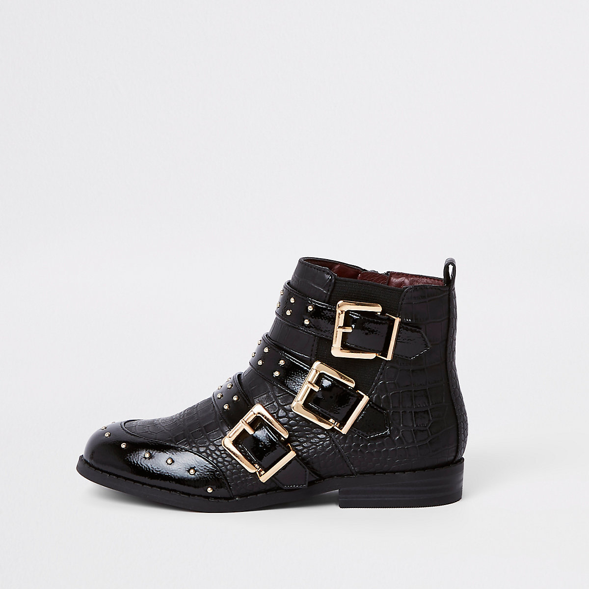 Girls black stud buckle ankle boots